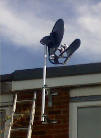 Multi sat Force dish on a pole