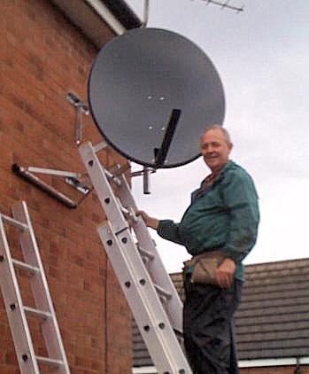 Andrew installing 80cm dish